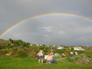Cath and Alice at Caherdaniel campsite in Ring of Kerry
