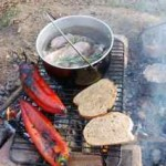 sausage stew and wild garlic cooked on campfire at Wowo