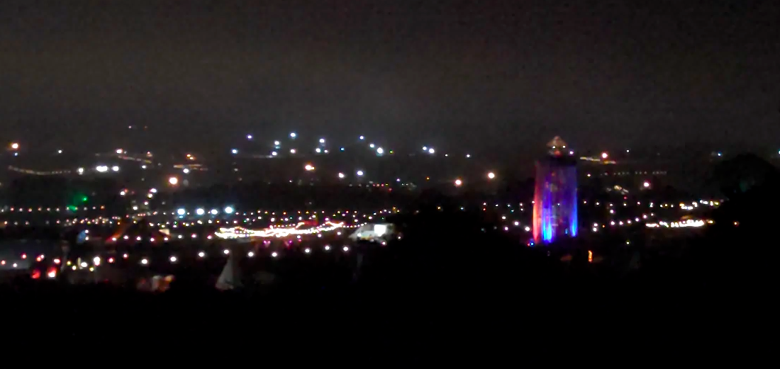 Glastonbury festival at night