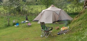 Vaude Badawi tent in Lake District with camping chairs and camping table
