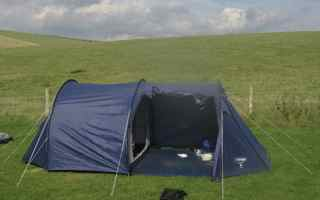 Tent pitched in Devon and Seven Sisters