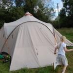 Vaude Badawi ii tent pitched in Gwalia Farm, Wales