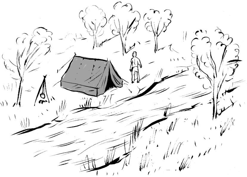 Camping by the river illustration by Paul Blow