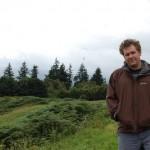 Matthew De Abaitua walking in the hills in Comrie Crieff, Scotland