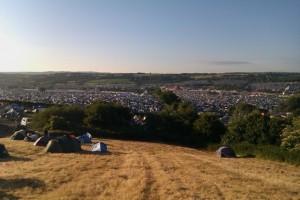 Glastonbury Festival on a sunny day