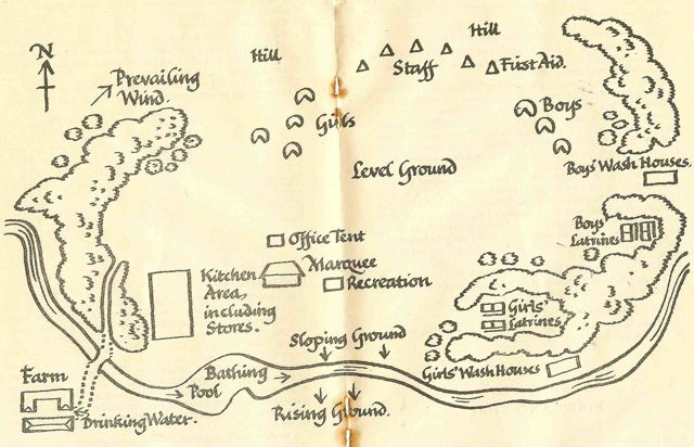 Handdrawn map of the perfect group camp map