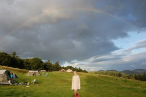 A rainbow over Comrie Crieff campsite