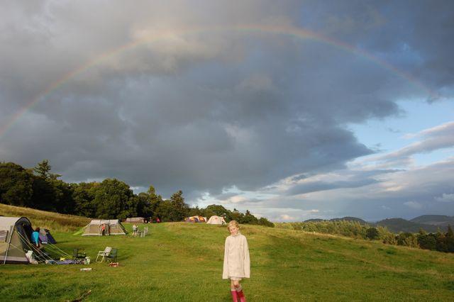 A rainbow over Comrie Crieff campsite