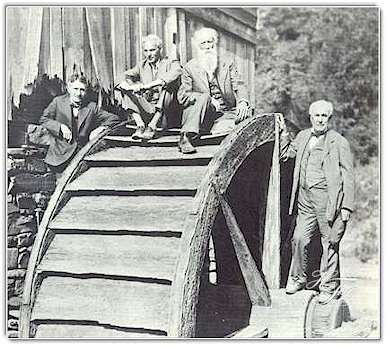four vagabonds on a water wheel Harvey Firestone Henry Ford John Burroughs and Thomas Edison