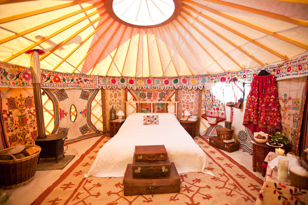 Luxury glamping bedroom in a Yurt