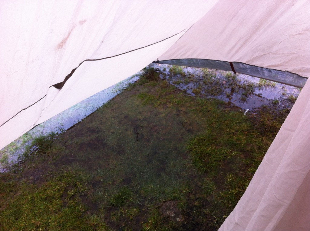 water in tent